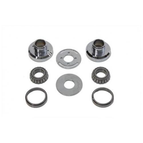 Chrome Fork Neck Cup Kit w Internal Stops for Harley Panhead Shovelhead Softail