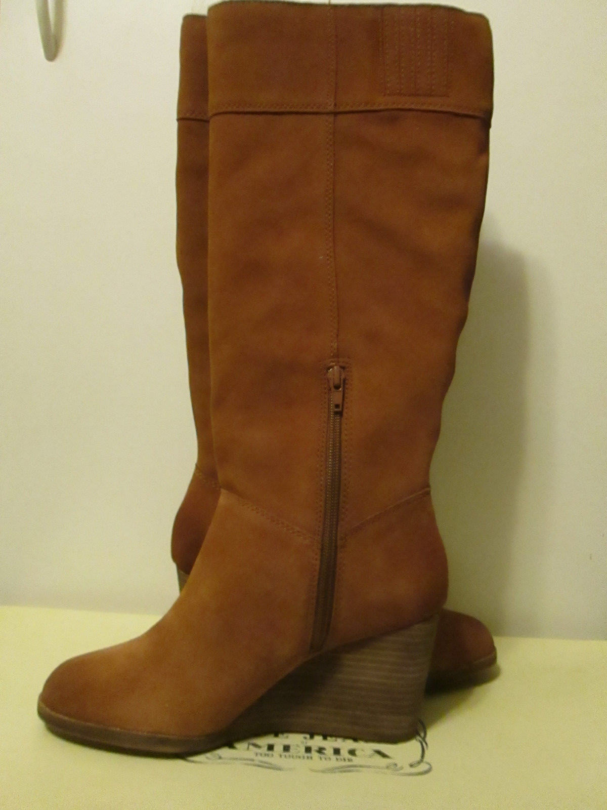 219 Pelle Lucky Brand Sanna Bombay Brown Suede Pelle 219 Wedge Knee High Stivali 9.5 54be69