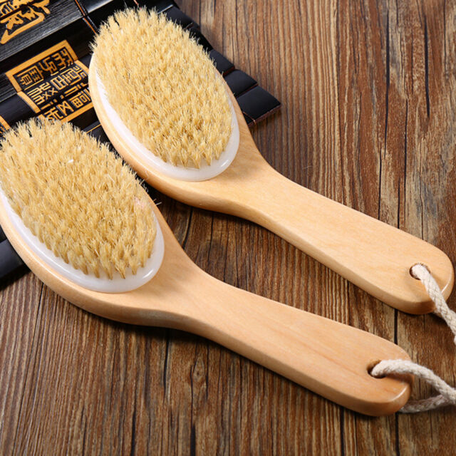 Body Natural Bristle Dry Skin Exfoliation Brush Massager Bath Shower-Scrubber EO
