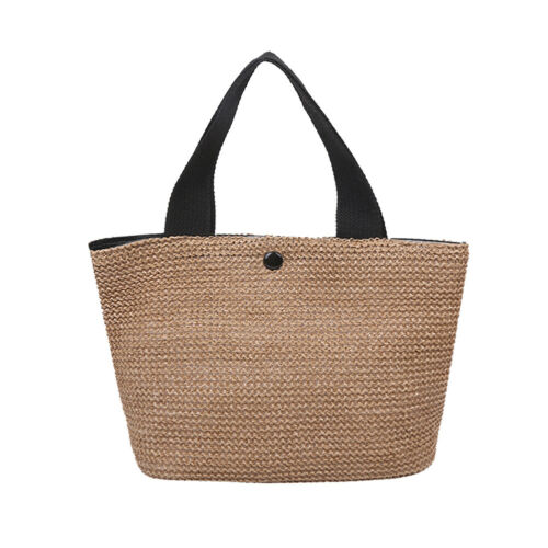 Details about  /Women Straw Handbag Beach Woven Bucket Totes Female Travel Shopping Bags