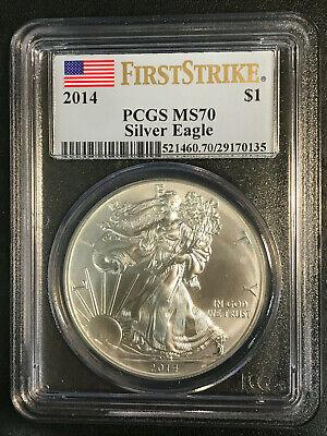 2014 $1 American Silver Eagle PCGS MS70 Graded First Strike W Spots