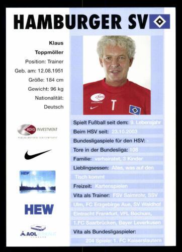 Klaus Toppmöller  Autogrammkarte Hamburger SV 2003-04 2.Karte A 96503