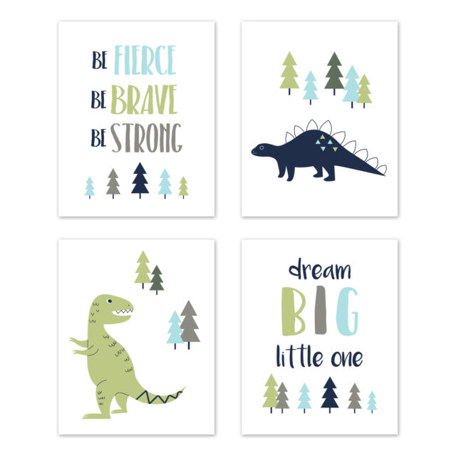 Kids Room Dinosaur Wall Art Dino Decor
