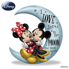 """Disney Mickey Mouse & Minnie Mouse """"Love You To The Moon"""" Figurine NEW NIB"""