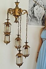 Vintage swag Hollywood Regency mid century hanging chandelier Ceiling lamp