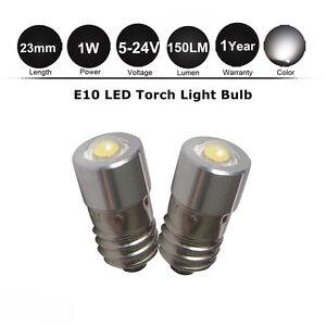 2x-White-E10-1447-Screw-1W-LED-Lamp-Bulb-6-3-9-18-12-24V-for-Torch-bike-bicycle