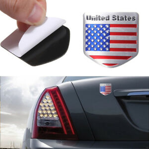 US-USA-American-Flag-Metal-Auto-Refitting-Car-Badge-Emblem-Decal-Sticker-Wh