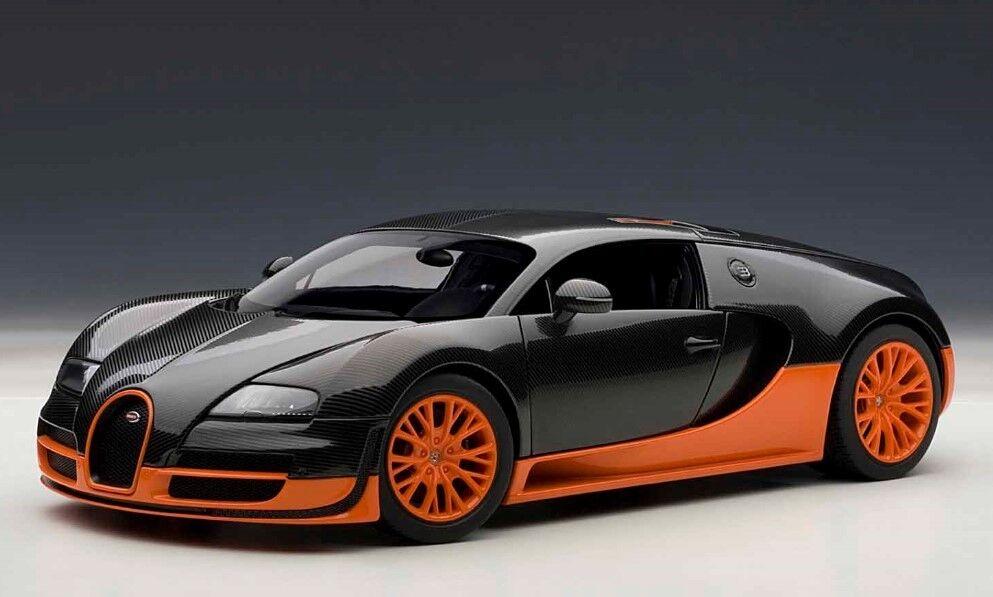 70936 Autoart 1 18 Bugatti Veyron Super Sport Carbon Noir Orange Modèle Voitures
