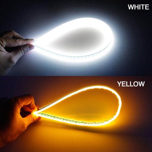 2x 45CM Slim Flexible White LED DRL Amber Sequential Turn Signal Strip Headlight