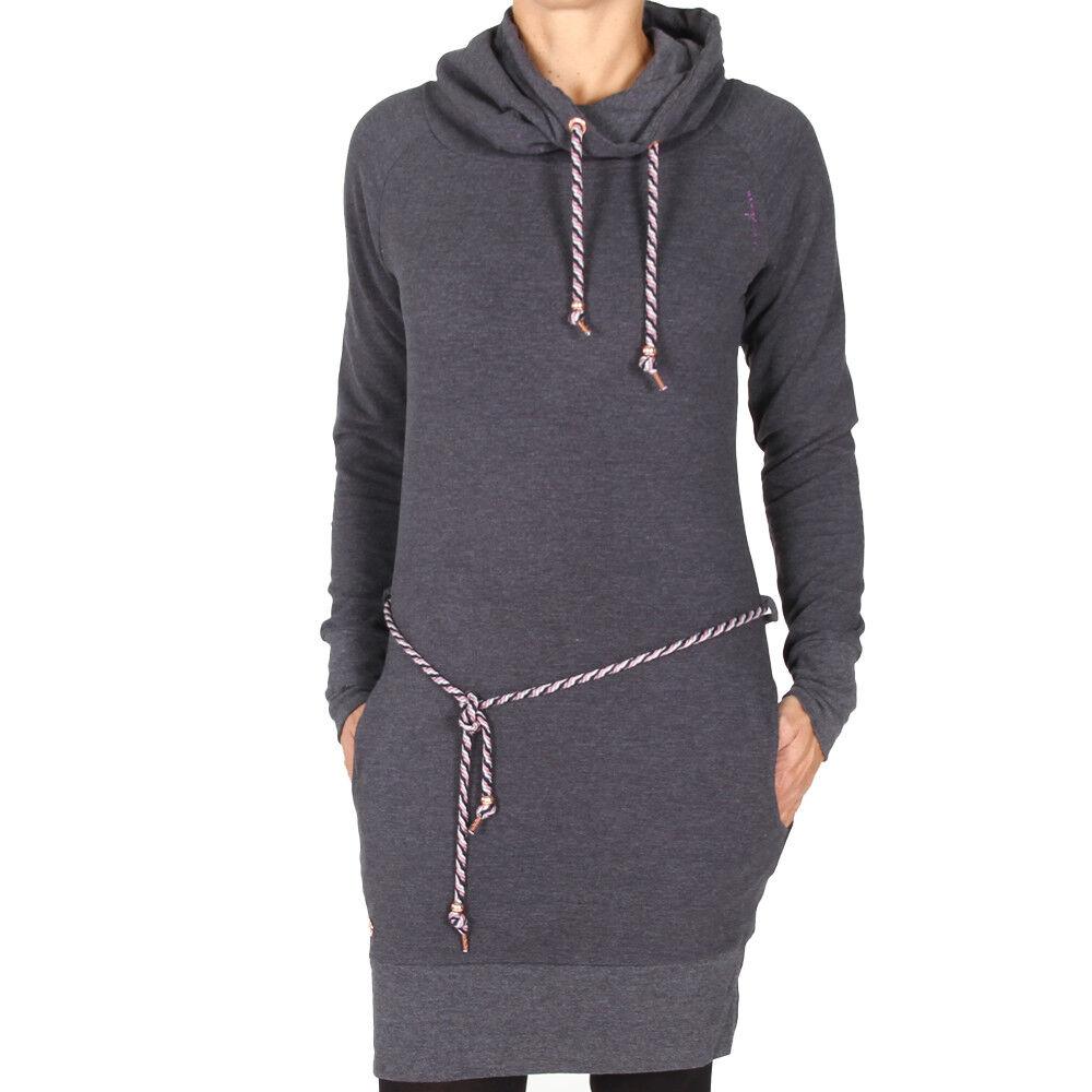 Mazine Quincy Turtle Neck Dress schwarz Melange Dots Damen Kleidchen Sweatshirt