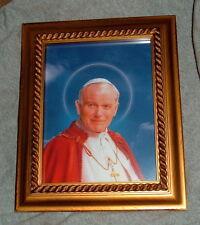 Saint ST JOHN PAUL II Antique Gold Framed Print 8x10 New Catholic POPE Mystic