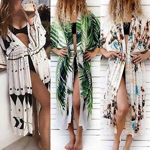 33691e9fc3624 Image is loading Womens-Floral-Kimono-Beach-Cardigan-Bikini-Cover-Up-