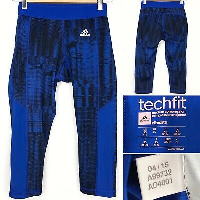 Adidas Tech Fit 3 4 Capri Fitness Tights Size Uk 4 6 Xs Women S Blue Black Ebay