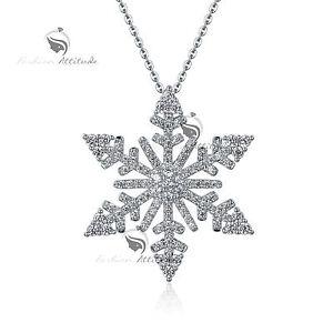5b3c7b2607 18k white gold gp made with SWAROVSKI crystal snowflake pendant ...
