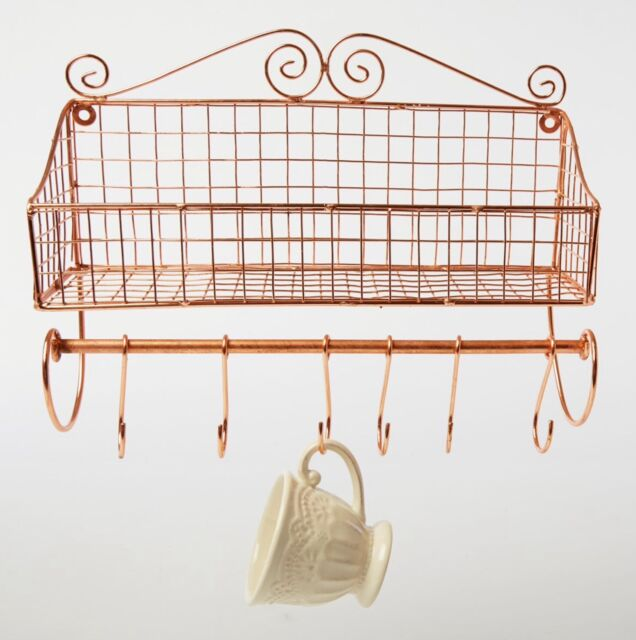 COPPER STORAGE BASKET SHELF UNIT WALL HUNG KITCHEN VINTAGE STYLE WIRE BASKET