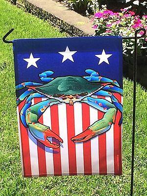 BLUE Crab or RED Crab American Flag Garden Patriotic nautical Maryland Coastal