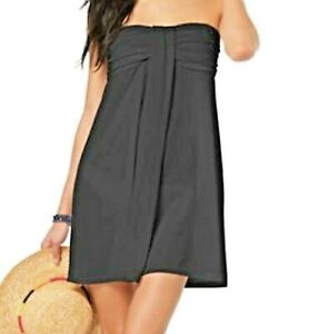 Hula-Honey-Strapless-Cottony-Soft-Swimsuit-Cover-up-Dress-NWT-Black-S-Small-4-6