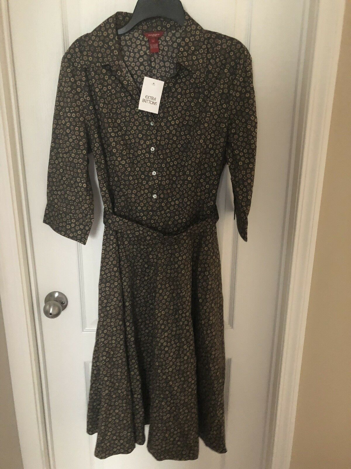 SUNDANCE NWT Floral Dress Button Down Belted Gorgeous Cranberry Greens Floral 16