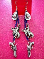 Rodeo Bronco Dangle Earrings 3 1/2 Inches Usa