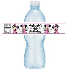 12 Minnie Mouse Clubhouse Birthday Party Water Bottle Stickers Label Pink