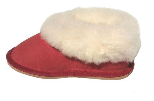 pantoufle en mouton camel ou rouges chaussons fourrés enfants filles
