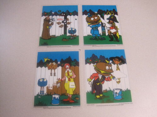 McDonalds 1978 Stained Glass Scenes Complete Set of 4 New Old Stock