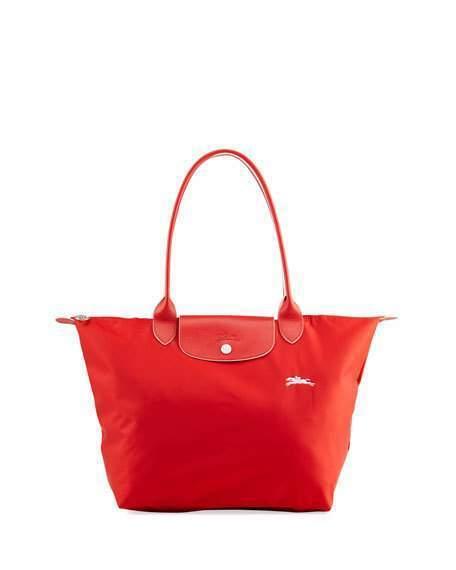 Longchamp Le Pliage Club Large Nylon Shoulder Tote Bag Vermillion Red
