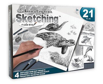 ROYAL LANGNICKEL Sketching Made Easy 21pc Gift Set 4 Designs Sea Life Turtle