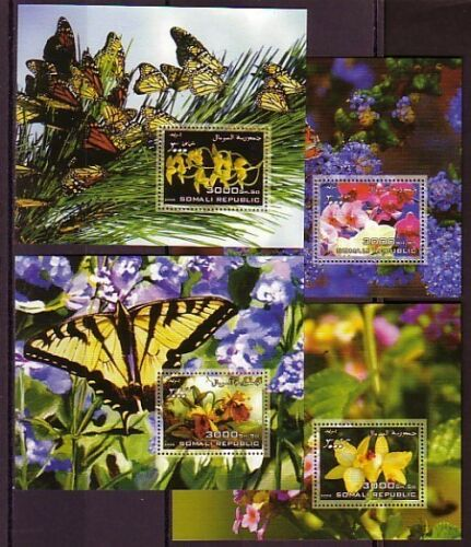 Somali Rep. 2006 issue. Orchids on 4 ssheets with Butterflies in design