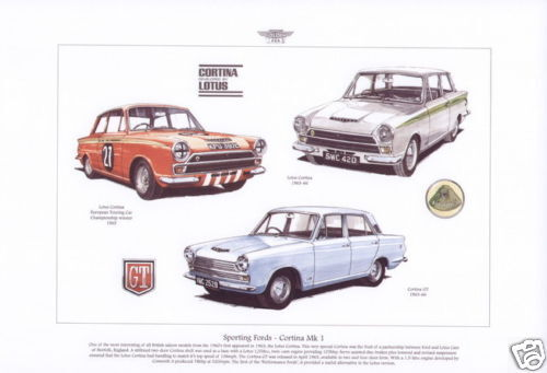 Sporting Fords Lotus Super /& GT car images Fine Art Print FORD CORTINA MK1