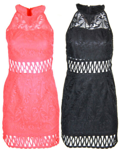 Q05 NEW WOMENS LADIES BODYCON CUT OUT LACE CELEB CHIC TAILORED PARTY DRESS.