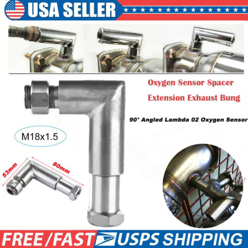O2 Oxygen Sensor Angled Extender Spacer 90 Degree Bung Extension M18 X 1.5 US