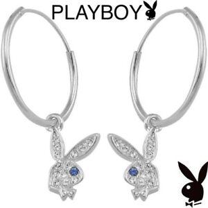 Playboy-Earrings-Hoop-Silver-Platinum-Plated-Swarovski-Crystal-Bunny-Charm-Logo