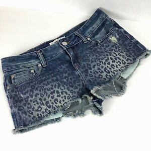 PINK-Victorias-Secret-Womens-4-Shorts-Denim-Jean-Cheetah-Leopard-Mid-Rise-Cutoff