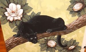 ba46fc2dfd200 Details about SEAY HUGE ORIGINAL WATERCOLOR BLACK PANTHER CAT IN A TREE  PAINTING