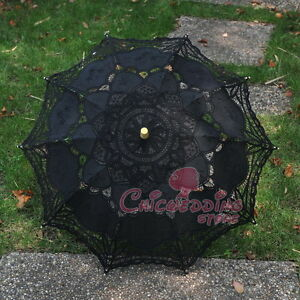 New-Black-Battenburg-Lace-Cotton-Embroidery-Wedding-Umbrella-Bridal-Sun-Parasol