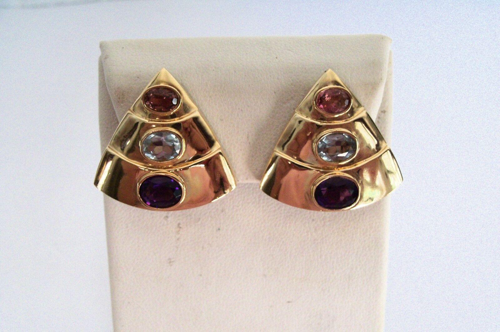 Estate14kSolid Yellow gold Natural GemstoneTurmaline blueetopaz Amethyst Earrings