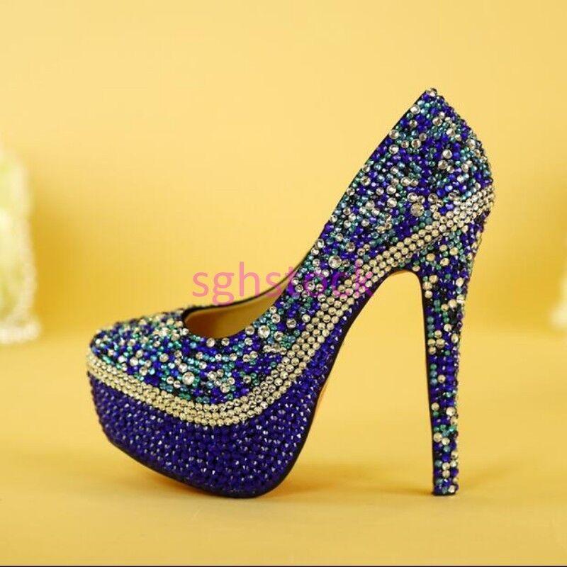 2017 femmes Bling bling Platform Stilettos High heel Slip On Wedding Dress chaussures