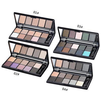 10 Colors Pro Matte Eyeshadow Cosmetic Makeup Palette & Brush Mirror Set