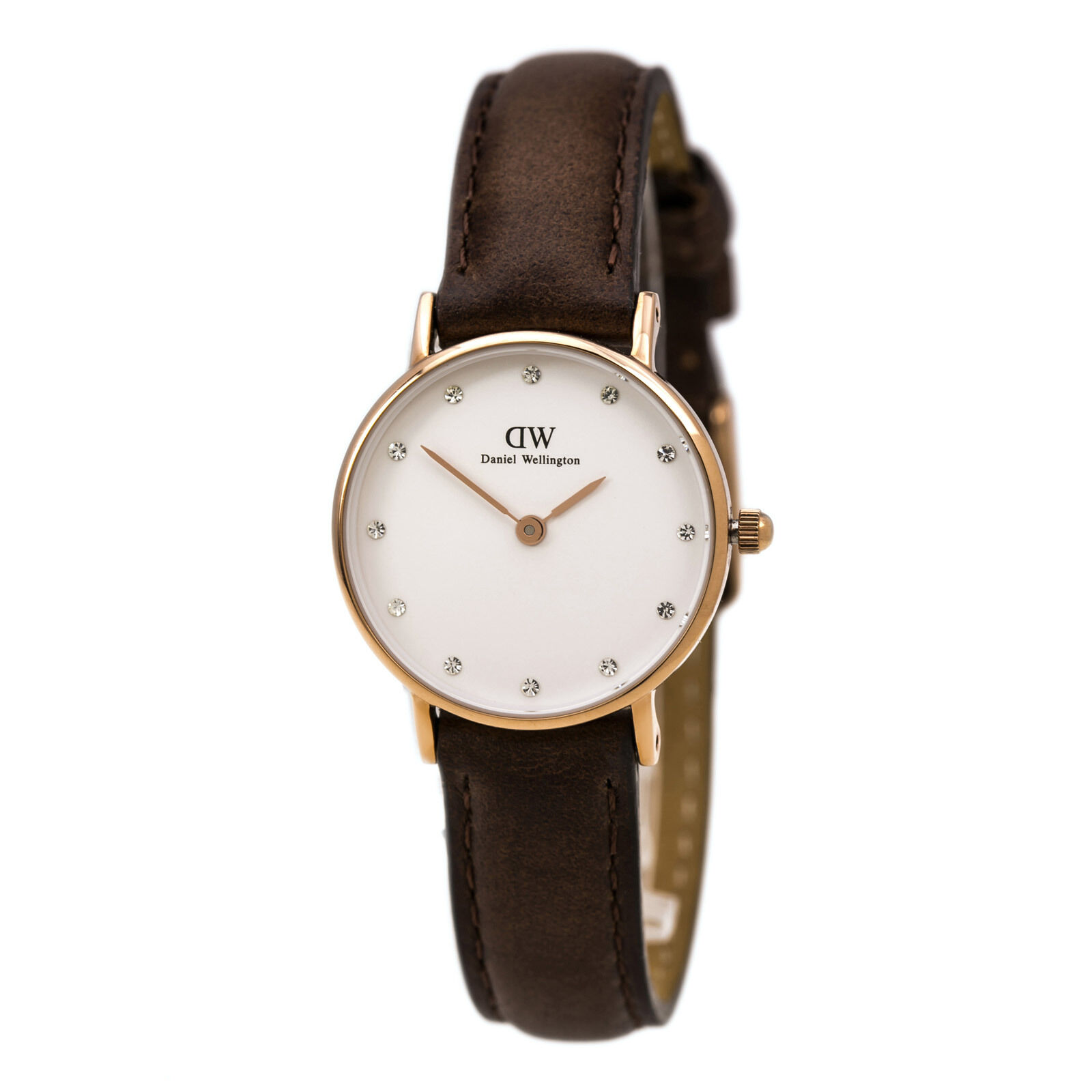 Cross-border:- Daniel Wellington Women's Dark Brown Strap Crystal Watch low price
