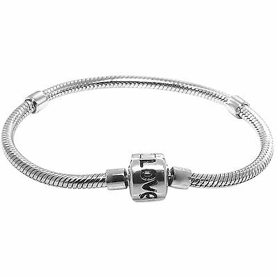 925 Sterling Silver Bead Charm Bracelet - Fits Euro Beads & Charms - Love
