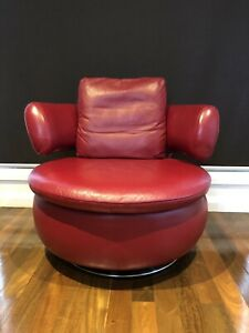 Details about Bay Leather Republic Dark Red Leather chair/ Feature chair/  Sofa near new