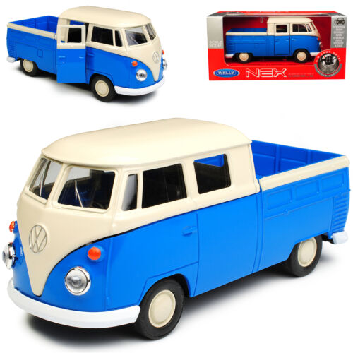 VW Volkswagen T1 Doppelkabine Pick-Up Blau mit Weiss Bully Bus 1950-1967 ca 1//43