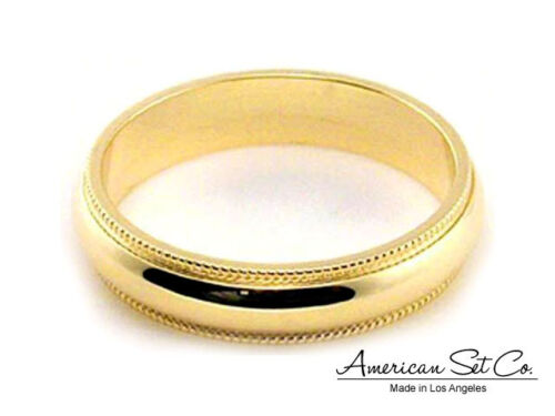 Solid 14K Yellow Gold Wedding Band 4mm Milgrain Comfort Fit Size 5 1//4 1//2