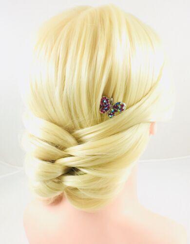BUTTERFLY Magnet Hair Clip Rhinestone Crystal Hairpin mini Barrette Magenta 3-12