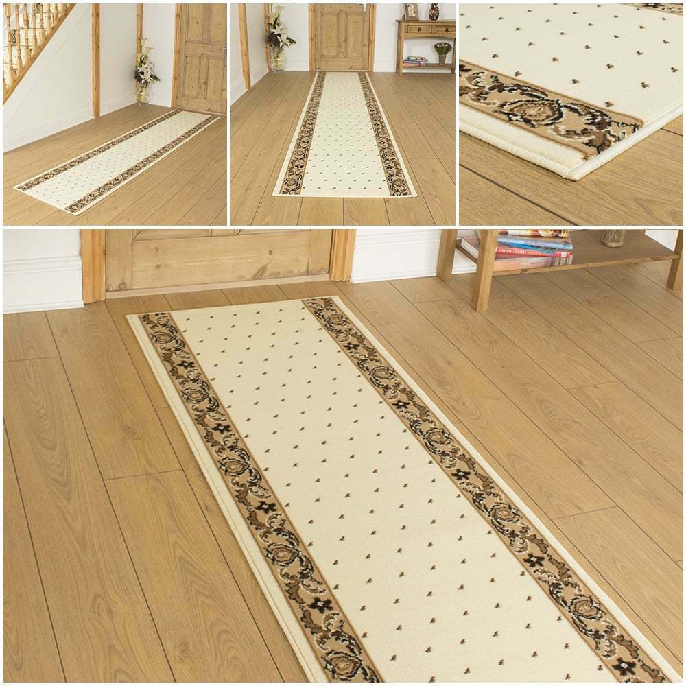 Pin Dot Creme - Läufer Teppich Flur Matte für Halle Extra Lang Preiswert Neu