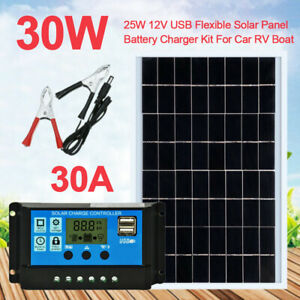 Details about 25W 12V USB Flexible Solar Panel Battery Charger Kit For Car RV Boat+ Controller