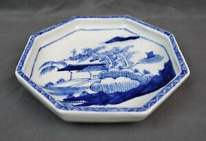 Fine-Chinese-Antique-Kangxi-Qing-Blue-amp-White-Porcelain-Octagon-Plate