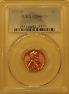 1958-D-PCGS-MS66-Lincoln-wheat-cent-RED-GEM-penny-uncirculated