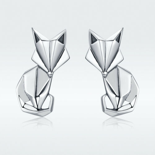 European pliant Fox 925 Sterling Silver Ear Stud Fashion Earrings Bijoux Cadeaux
